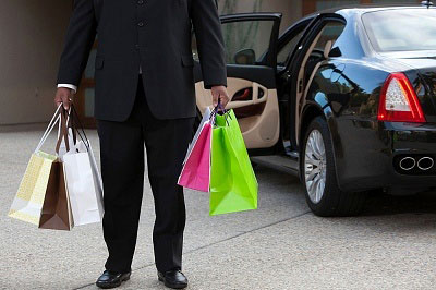 Chauffeur with shopping
